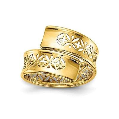 【新品】Solid 14k Yellow Gold Cut-out Adjustable Wrap Ring Band Size 8