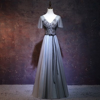 ロングドレス 演奏会ドレス パーティードレス ウェディングドレスドレス 大きいサイズ カラードレス イブニングドレス お呼ばれ 同窓会[グレー]