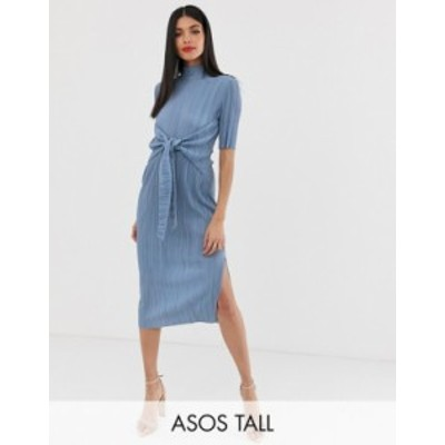 エイソス レディース ワンピース トップス ASOS DESIGN Tall exclusive knot front plisse midi dress Silver gray