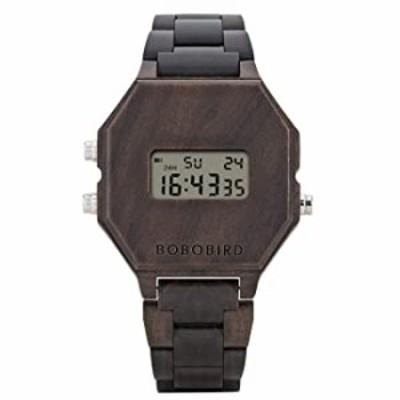 腕時計  メンズ 電子腕時計  木製 アウトドア スポーツ 腕時計  LED バックライト ブラック クラシックウォッチ