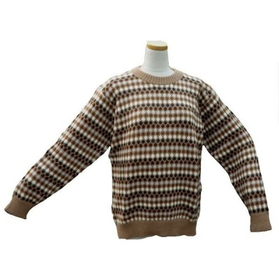 ALC-029-2 アルパカ100%セーター 男性 丸首 伝統柄 水玉柄 暖かい