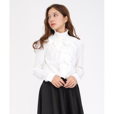 【レースレディース】 長袖立ち襟フリル無地ブラウス シャツ レディース ホワイト M Lace Ladies
