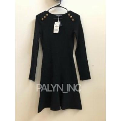 ファッション ドレス RARE! NWT ZARA BLACK KHAKI BUTTONED DRESS SWEATER FLOUNCE DRESS KNIT_6254/202
