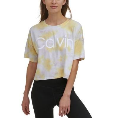 カルバンクライン カットソー トップス レディース Cropped Tie-Dyed T-Shirt Kensignton Daffodil