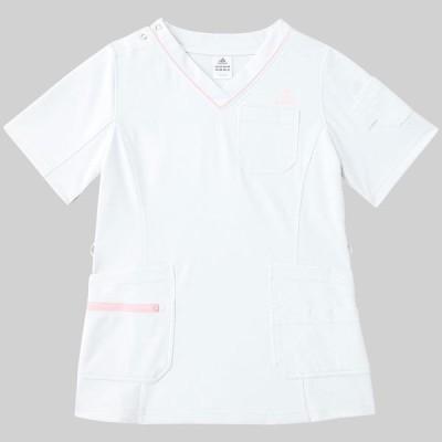 adidasKAZEN adidas(アディダス)レディススクラブ 医療白衣 半袖 ホワイト XOT SMS009-10(直送品)