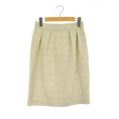【中古】ルーニィ LOUNIE スカート ツイード タイト タック 膝丈 38 白 ベージュ /AA ■OSW レディース 【ベクトル 古着】