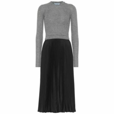 プラダ Prada レディース ワンピース ワンピース・ドレス Wool and silk-blend midi dress Nero/ardesia