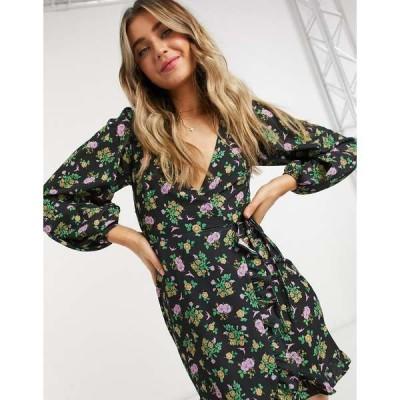 エイソス レディース ワンピース トップス ASOS DESIGN long sleeve mini wrap dress in dark based floral Dark based floral