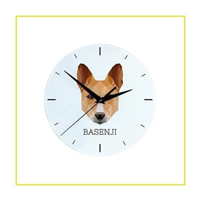 【新品 送料無料】Basenji, Wall Clock with an Image of a Dog, Geometric