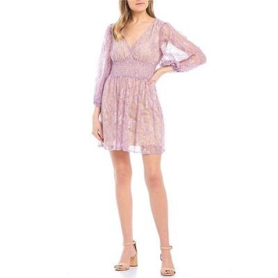 ビーダーリン レディース ワンピース トップス Long Sleeve Lace Smocked Waist Dress