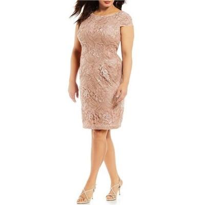 アレックスイブニングス レディース ワンピース トップス Plus Size Cap Sleeve Floral Embroidered Sequin Dress
