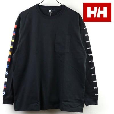 ヘリーハンセン HELLY HANSEN メンズ ロングスリーブ フラッグロゴ Tシャツ L S Flag Logo Tee HE32127-K SS21 HH トップス 長袖 BLACK ブラック系