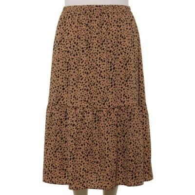 【大きいサイズ】スカートデシンアニマル柄ギャザーティアードロング 大きいサイズ スカート レディース