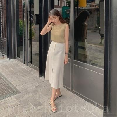 スカート レディース Aライン 白 フロントスリット リネン リネンスカート 韓国ファッション メール便