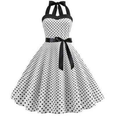 女性ファッションの明るいドットパターンストラップレス大裾ドレス