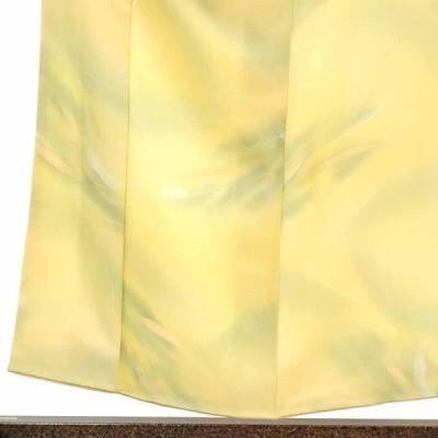 リサイクル着物 小紋 正絹黄色地袷小紋着物