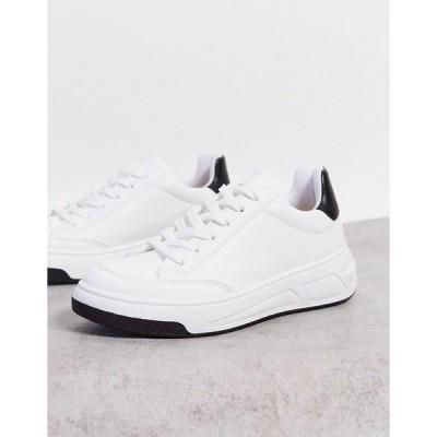 エイソス レディース スニーカー シューズ ASOS DESIGN Drew skater lace up sneakers in white White