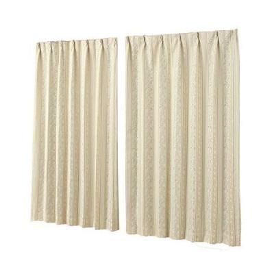3級遮光カーテン ジャガード織り 5246ベージュBE 裏地付 形状記憶 幅100x丈135cm2枚組 100×135 在庫品