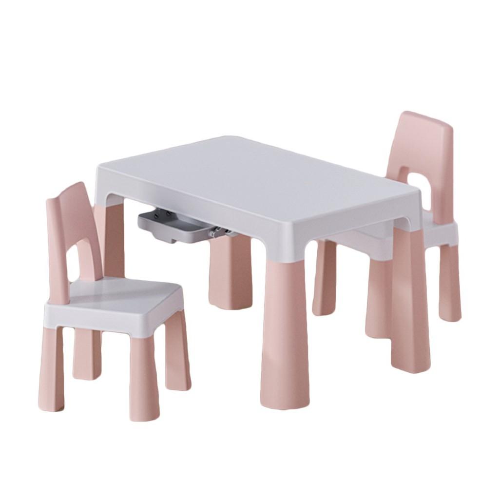 [現貨秒發]北歐風超穩固兒童桌椅 兒童桌椅 一桌兩椅 粉 兒童椅 兒童學習桌 兒童餐桌椅 兒童書桌椅 讀書 [哩哩摳摳]