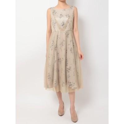 MERCURYDUO フラワードットプリーツドレス(ベージュ)