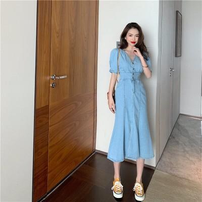 ★実物画像あり!新作★  韓国ファッション レトロ 単体ボタン デザインセンス  大人気 Vネック スプリット デニムスカート ファッション シンプル 個性 ワンピース オシャレ