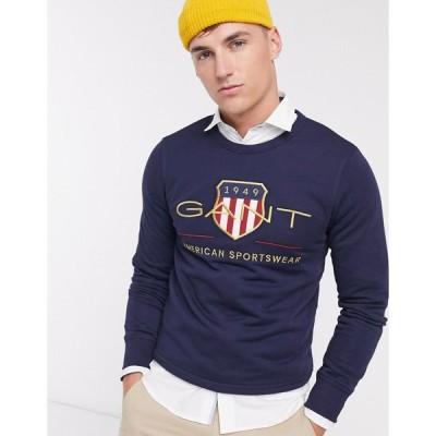 ガント スウェット トレーナー メンズ Gant archive embroidered shield logo crew neck sweatshirt in evening blue エイソス ASOS ブルー 青