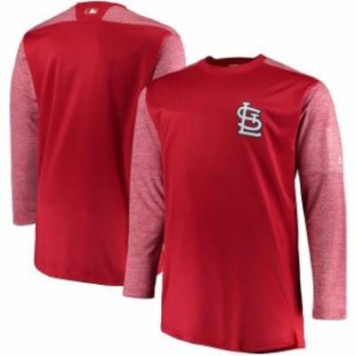 Majestic マジェスティック スポーツ用品  Majestic St. Louis Cardinals Red/Heathered Red Big & Tall On-Field Tech Fleece Sweatshir