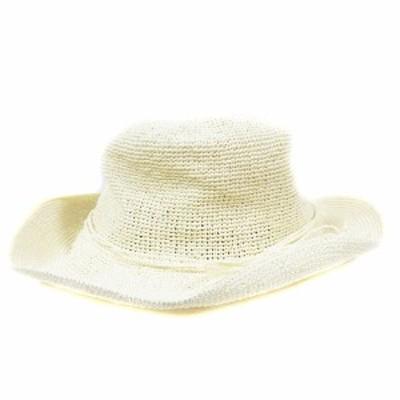 【中古】センスオブプレイス バイ アーバンリサーチ 帽子 ペーパーハット リボン アイボリー /AAM26 レディース