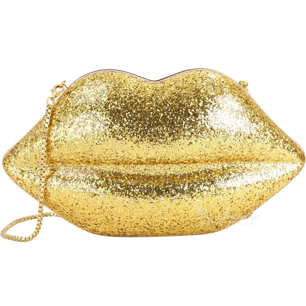 LULU GUINNESS Arcylic Lips 大款 壓克力嘴唇 可拆鍊帶手拿晚宴包(亮片金)1840391-24