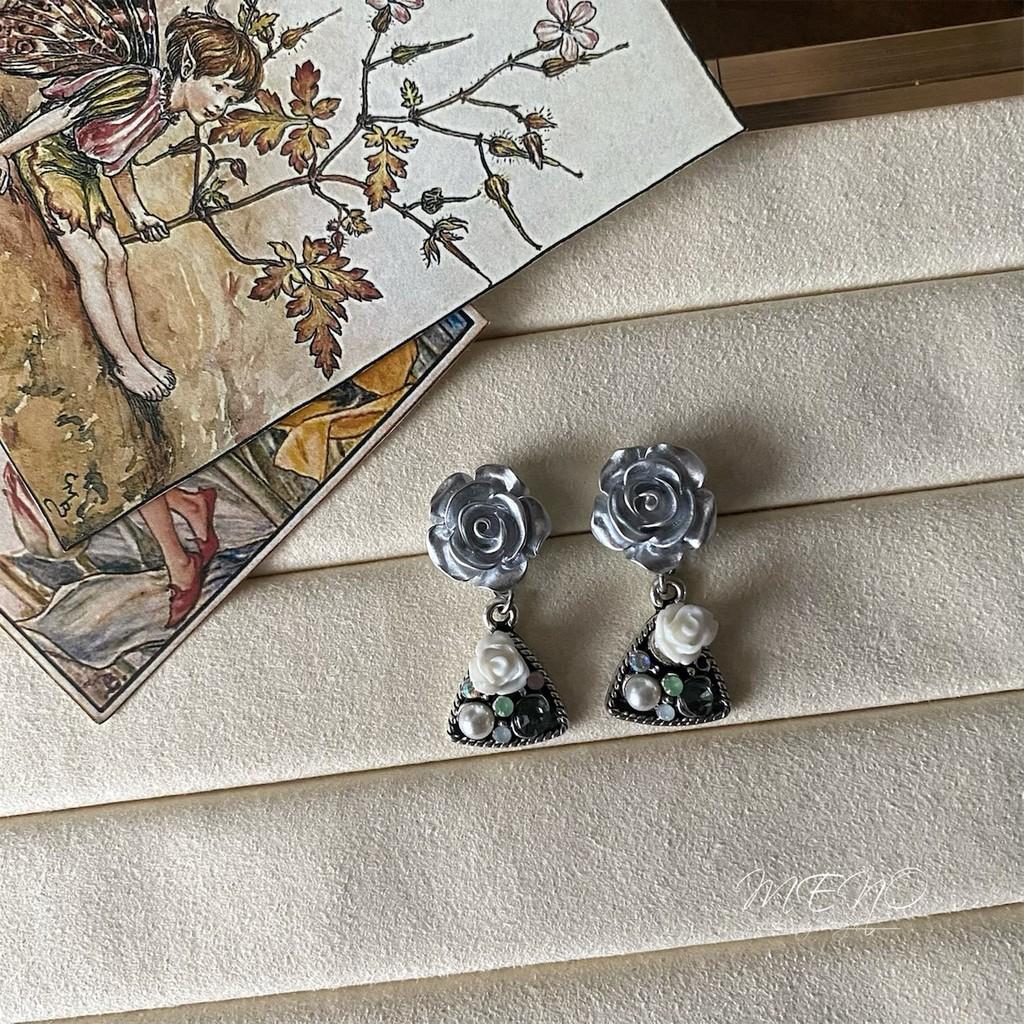 Meno 銀玫瑰復古小花彩鑽設計耳環 可改耳夾 防過敏耳針