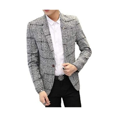 Buona stimolo (ボナスティモーロ) メンズ テーラード ジャケット 薄手 起毛 チェック フォーマル カジュアル (グレー XL)