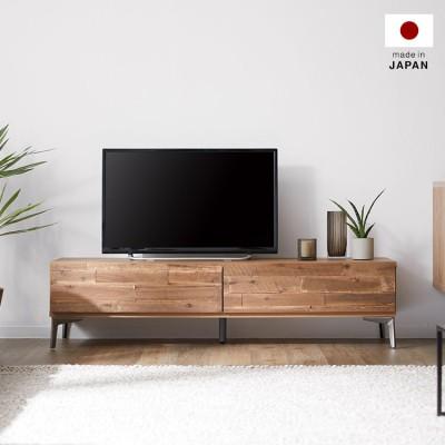 [幅140] テレビ台 日本製 ローテレビ台アカシア無垢材使用 収納付 スチール脚