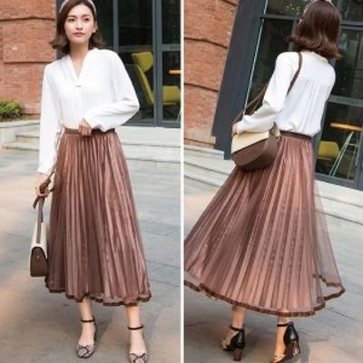 [レディース] プリーツスカート: ロング スカート マキシ丈 チュール シフォン フレア 上品 清楚 大きい 大きめ サイズ