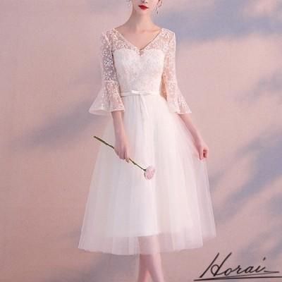 パーティードレス レース 透け感 ワンピドレス 結婚式 二次会 秋冬 お呼ばれ ディナー パーティー 20代 30代 40代 お取り寄せ