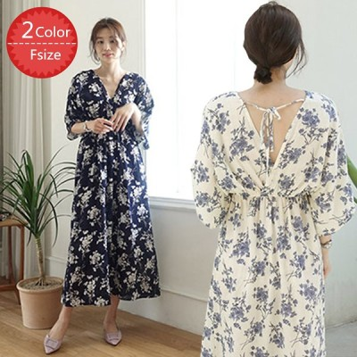 ワンピース ロング レディース 半袖 花柄 フラワー vネック 袖のフリルが可愛い シフォンワンピース 韓国ファッション