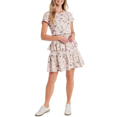 セセ レディース ワンピース トップス Short Sleeve Jewel Neck Tiered Knit Floral Dress