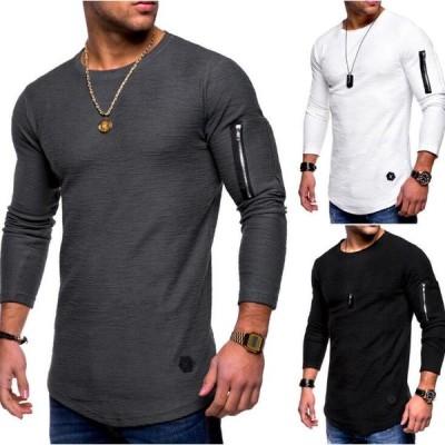 4色  メンズTシャツ  長袖Tシャツ シャツ トレーナー 春秋 丸首 カジュアル   おしゃれ  無地  シンプル