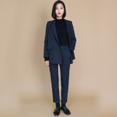 リクルートスーツ 女性 スーツ レディース パンツスーツ ストライプ 2点セット 通勤 ビジネス 就活 面接 大きいサイズ