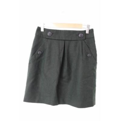【中古】バナナリパブリック BANANA REPUBLIC スカート ギャザー ひざ丈 ボタン ウール 0 緑 グリーン /NN42 レディース