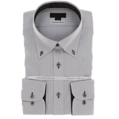 綿100% 形態安定スリムフィット ボタンダウン長袖ビジネスドレスシャツ/ワイシャツ