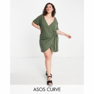 エイソス ASOS Curve レディース ワンピース ラップドレス ワンピース・ドレス ASOS DESIGN Curve wrap dress in green グリーン