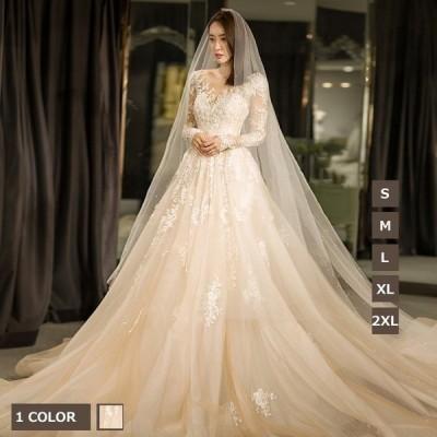 ドレスウェディングドレス長袖レディース大きいサイズロングドレスパーティードレスフォーマルお呼ばれドレストレーンドレス花嫁披露宴二次会結婚式