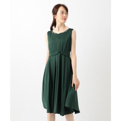 Feroux 【洗える!】バックシャンリボン ドレス (ダークグリーン系)