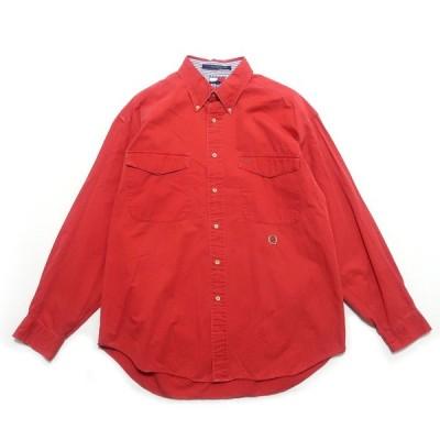 トミーヒルフィガー コットンシャツ ボタンダウンシャツ ワンポイントロゴ レッド サイズ表記:L/G