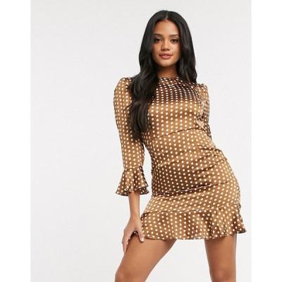 ナナ ミディドレス レディース NaaNaa 3/4 sleeve polka satin dress in brown  エイソス ASOS sale ブラウン 茶