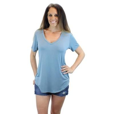 レディース 衣類 トップス Ms Lovely Women's Ultra Soft Casual Short Sleeve V-Neck Long Length T-Shirt - Blue Green Small Tシャツ