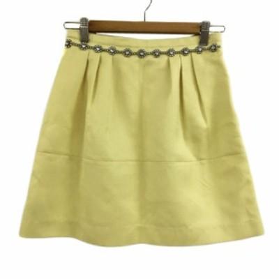 【中古】リランドチュール Rirandture スカート 台形 ミニ ビジュー 2 黄緑 イエローグリーン レディース