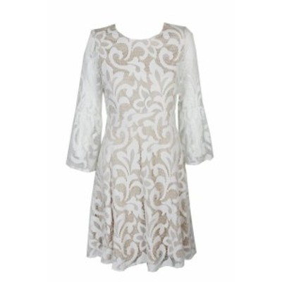 bell ベル ファッション ドレス Jessica Howard Petite Ivory Lace Bell Sleeve lace Fit & Flare Dress 6P