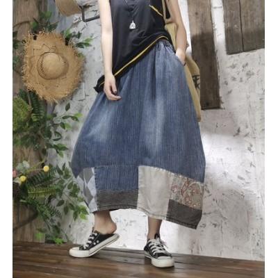2020  新品 韓国ファッション  レディース スカート デニム  ミディアムスカート  着瘦  可愛い上質  BQ20040602