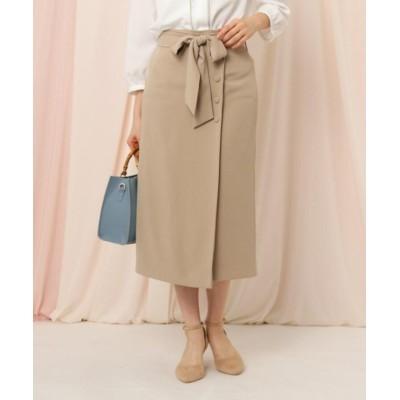 (Couture Brooch/クチュール ブローチ)【手洗い可】サスペンダー付きリボンタイトスカート/レディース ベージュ(052)